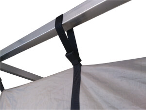 Faraday tent to frame connection