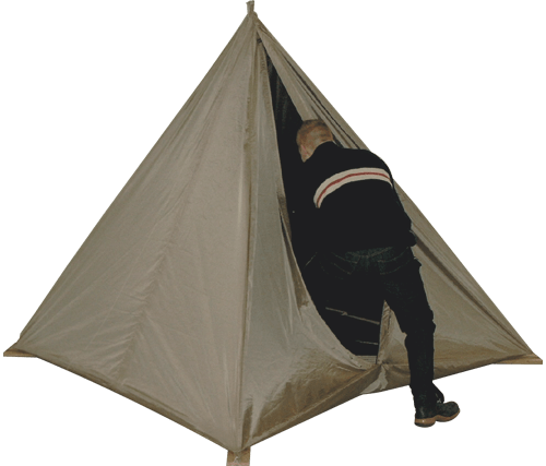 Pyramid shape Faraday tent with mounting rope to the ceiling