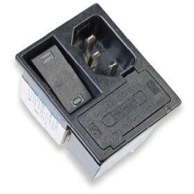 Entegre 2 kutuplu anahtar, 2 sigorta ve 2 yollu voltaj seçici içeren güç hattı filtresi