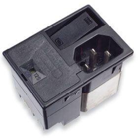 Entegre 2 kutuplu anahtar, 2 sigorta ve 4 yollu voltaj seçici içeren güç hattı filtresi