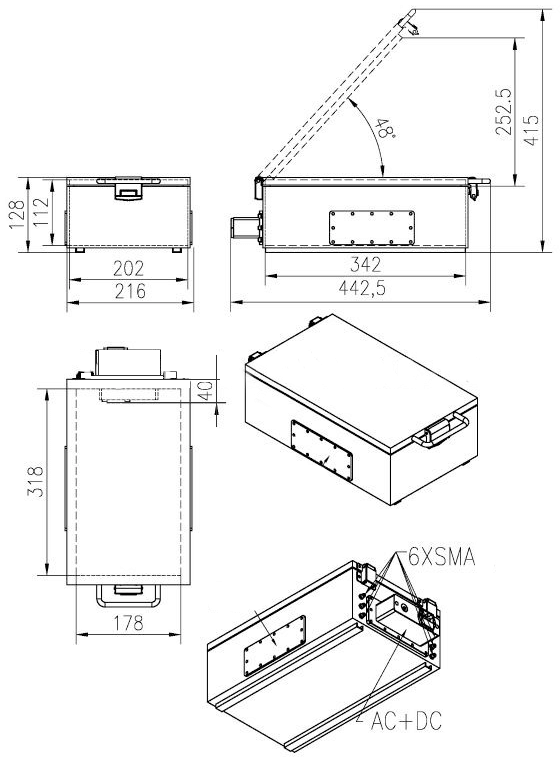 Medium performance EMI / RF shielded boxes technical drawing